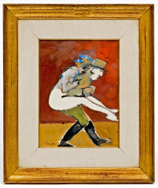 Fabulous vintage abstract painting of a French gendarme with a woman over his back circa 1950's. This painting is oil on board, with a linen mat framed under glass in a gold leaf frame. Great characters!  From the estate of a Texas Oil Heiress known
