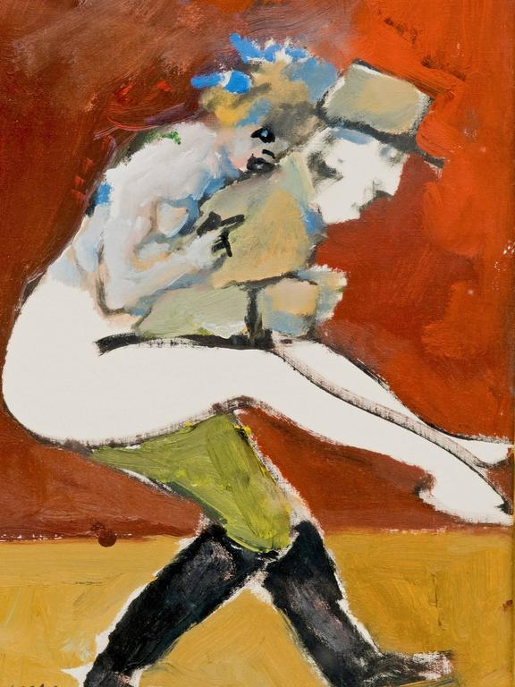 Abstract Figural Painting of a French Officer and a Woman In Good Condition For Sale In New York, NY