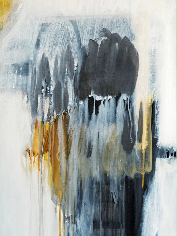 Fabulous abstract modern painting Rain Walking in bold colors of blue, yellow and white by Brazilian artist Ivanilde Brunow. This mixed medium of acrylic, emulsion and charcoal on canvas demonstrates a powerful abstract image of nature.  Well-known