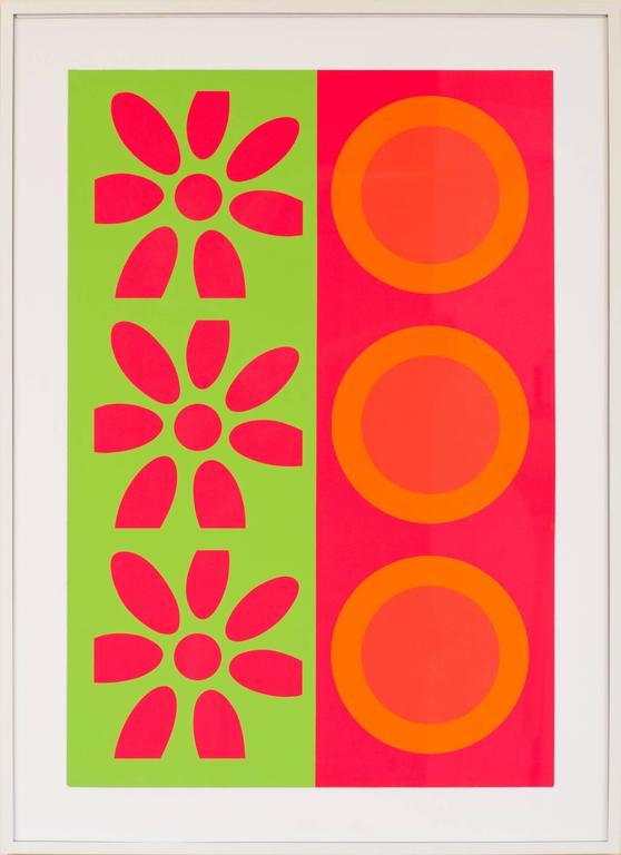 Peter Gee Target and Daisies Silkscreen Pop Art In Good Condition For Sale In New York, NY