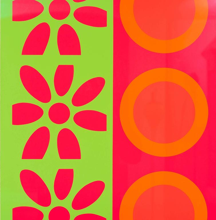 Pop goes this Peter Gee silkscreen in a fabulous hot pink, green and orange color way. His target and daisy panels, this one circa 1960s, was very well preserved and several have graced magazine covers. Known as a master of color, this work belonged