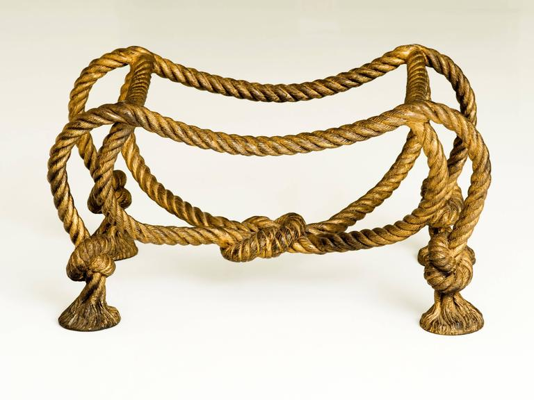 French Maison Jansen Style Coffee Table with Rope and Tassel Feet  For Sale
