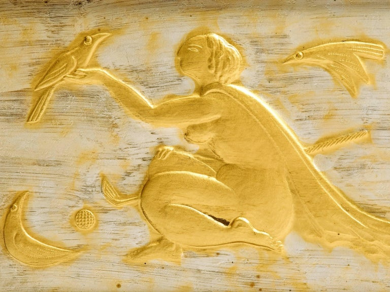 Stunning giltwood hand-carved figural of a nude woman reaching out to birds holding a golf club. Truly one of the most spectacular pieces of golf art in silver and gold gilt. Period mahogany frame with green silk matte, artist signature and Miyamoto