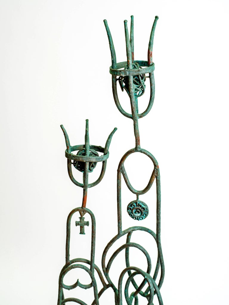 American Metal Sculpture of a King and Queen Signed RSF For Sale