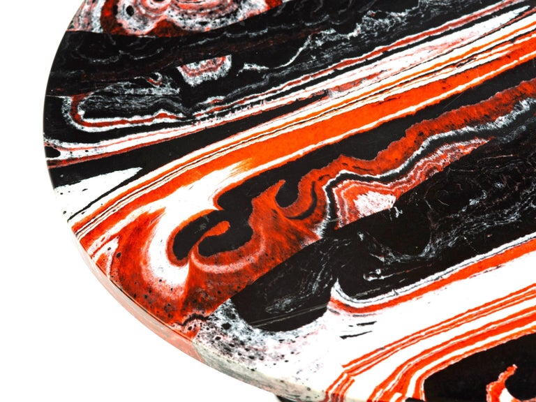 Israeli Red, Black and White Marble Side or End Table For Sale
