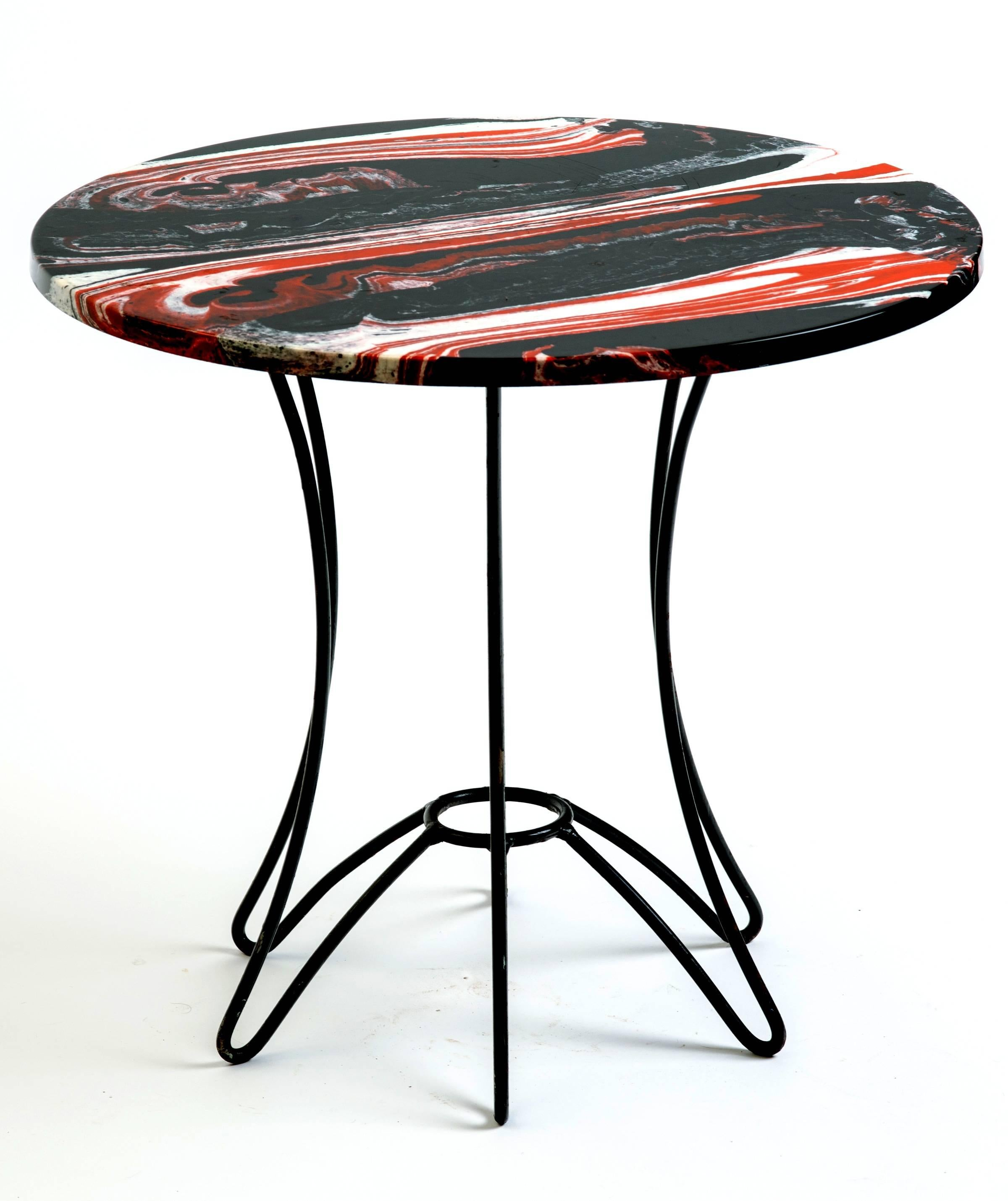 Red, Black And White Marble Side Table For Sale At 1stdibs