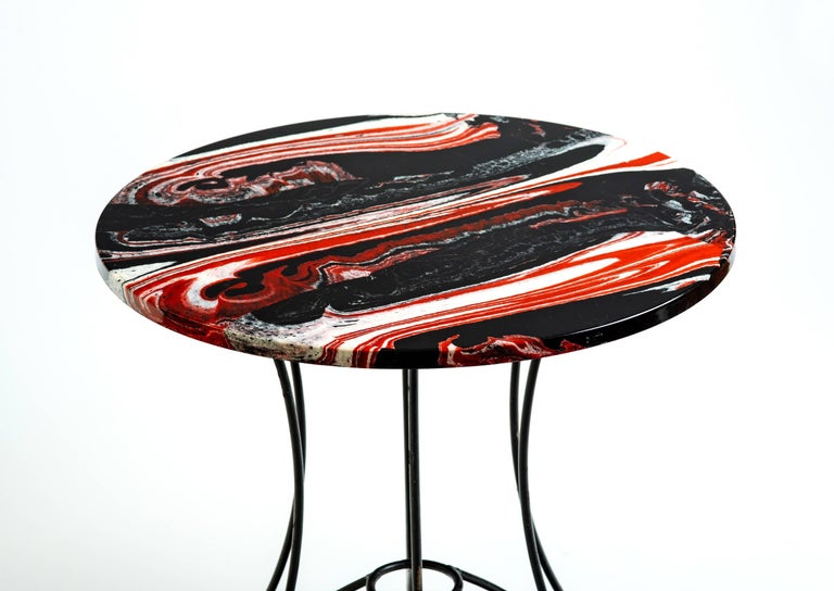 Late 20th Century Red, Black and White Marble Side or End Table For Sale
