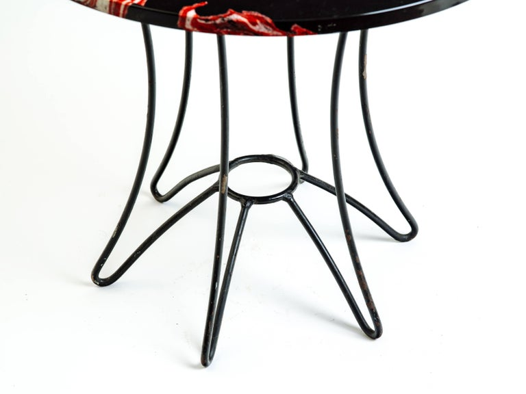 Red, Black and White Marble Side or End Table For Sale 1