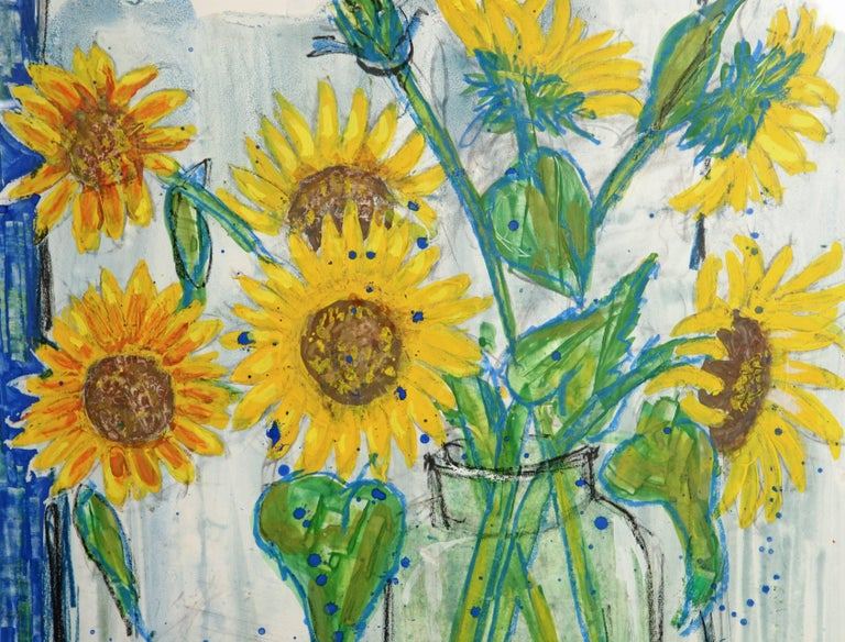 Beautiful mixed media still life of Sunflowers and Radishes by listed South of France Artist Nicolas Hammel.  This painting on paper is a mix of gouache, oil crayons and watercolors reflecting the beautiful area of the Luberon where his artist