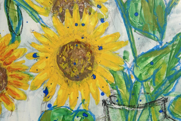 Late 20th Century Sunflower Painting by French Artist Nicolas Hammel For Sale