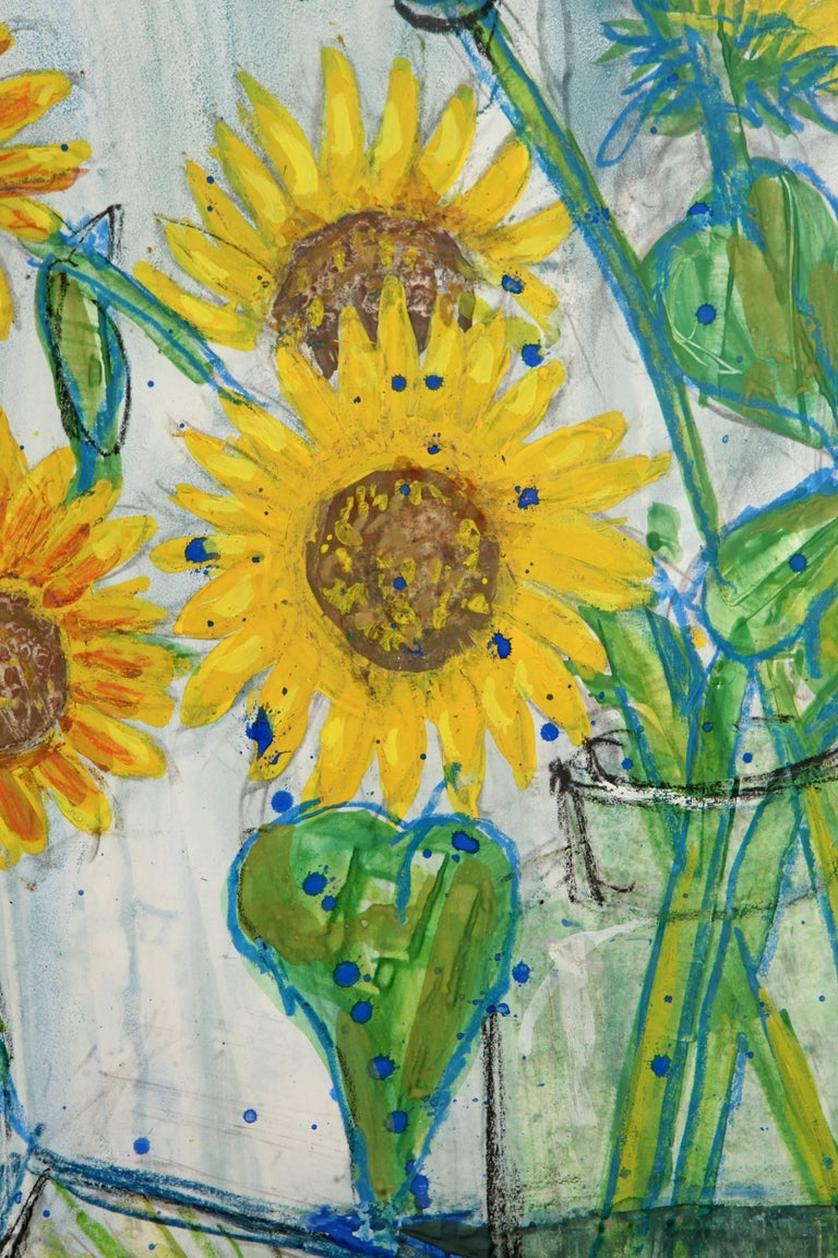 Sunflower Painting by French Artist Nicolas Hammel For Sale 2