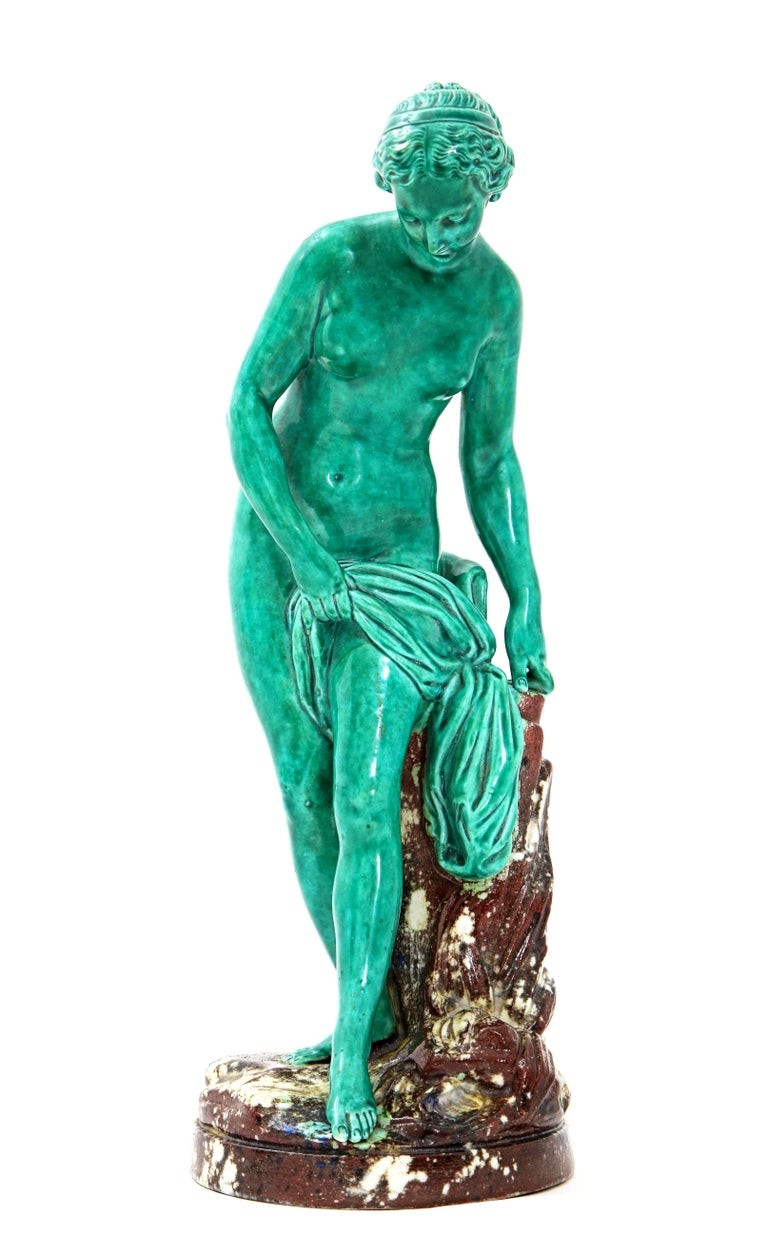 Hand-Painted French Majolica Sculpture of Diana circa 19th Century For Sale