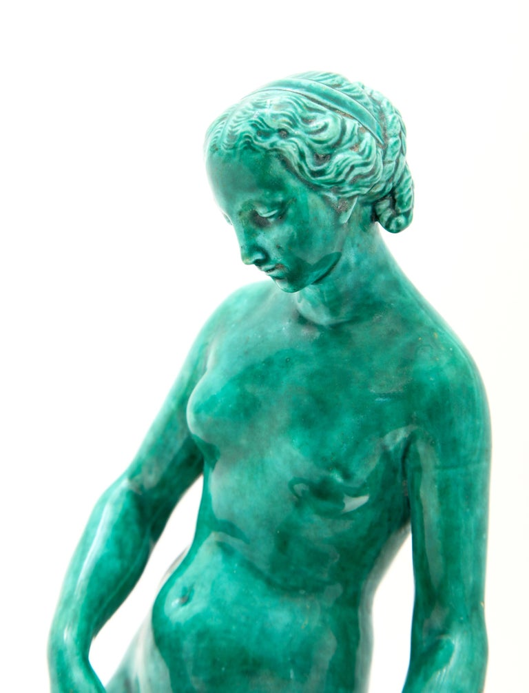 French Majolica Sculpture of Diana circa 19th Century In Good Condition For Sale In New York, NY
