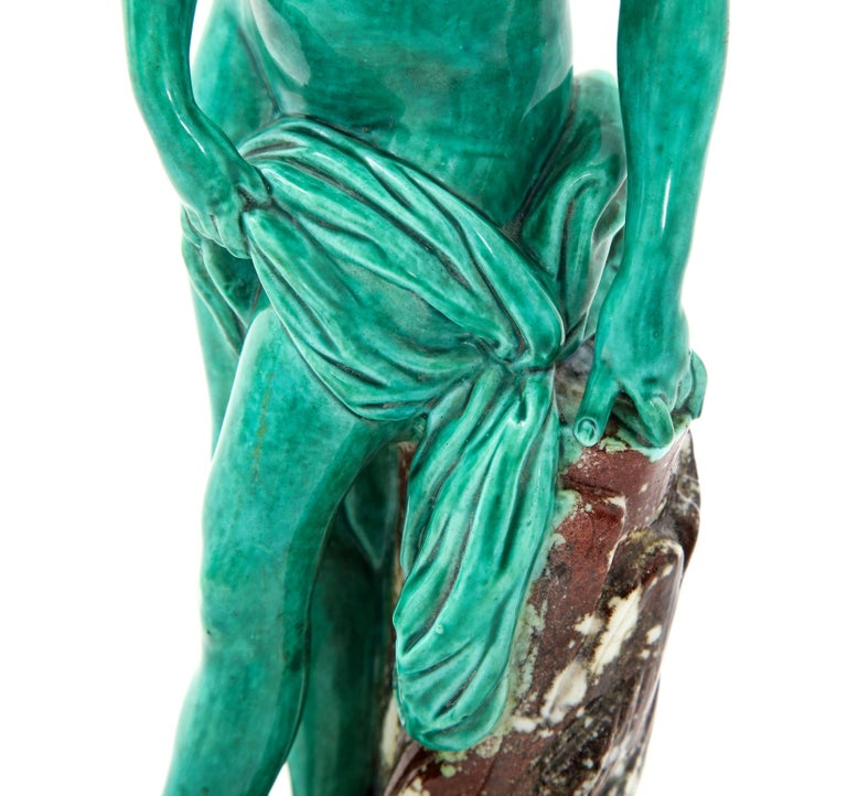 Ceramic French Majolica Sculpture of Diana circa 19th Century For Sale