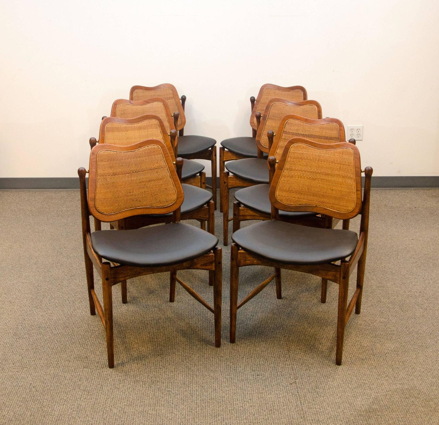 set of eight danish swivel back dining chairs arne vodder at 1stdibs