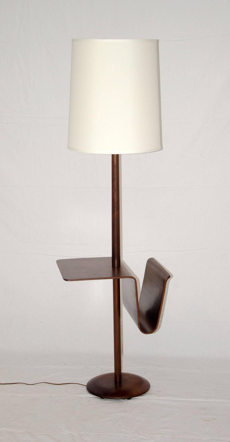 walnut floor lamp with bent ply table and magazine rack at 1stdibs. Black Bedroom Furniture Sets. Home Design Ideas