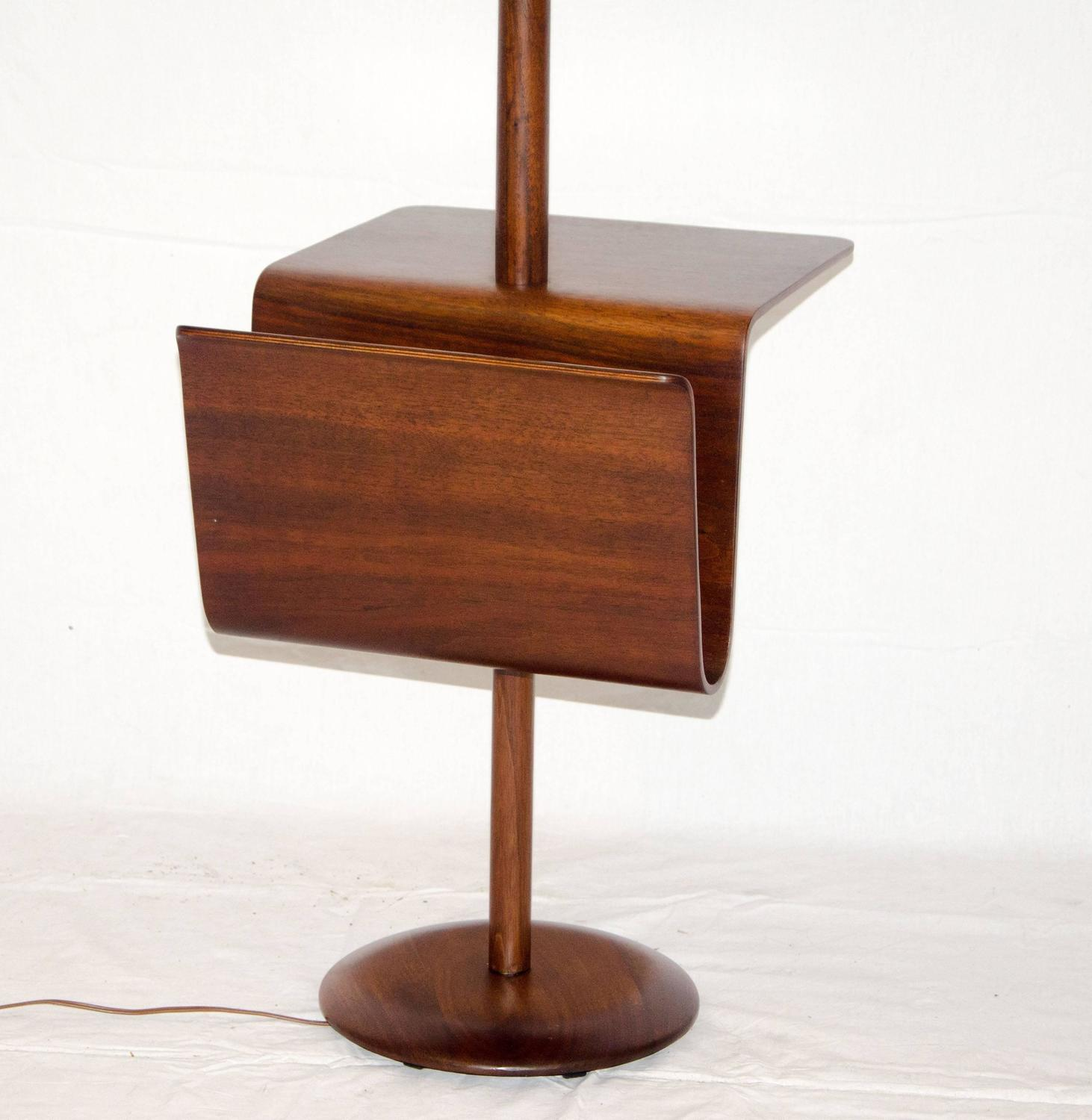 Mid century walnut floor lamp with bent ply table and for 13 a table magasin