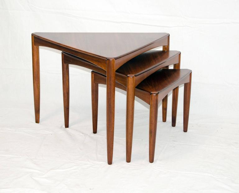 Good Set Of Three Mid Century Walnut Triangular Nesting Tables 2