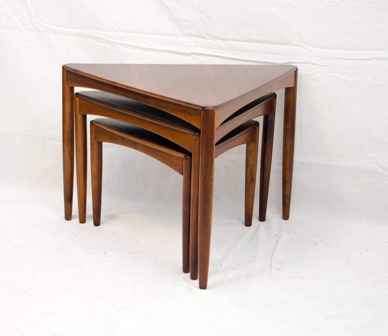 Set of three mid century walnut triangular nesting tables