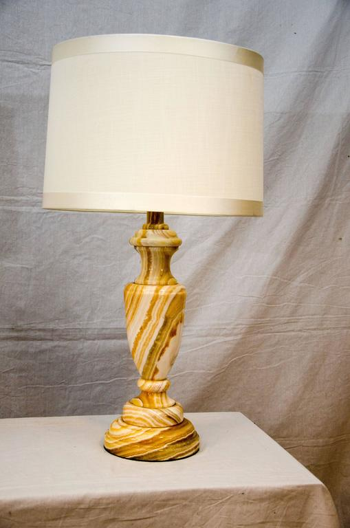 American Pair of Mid-Century Onyx Table Lamps For Sale