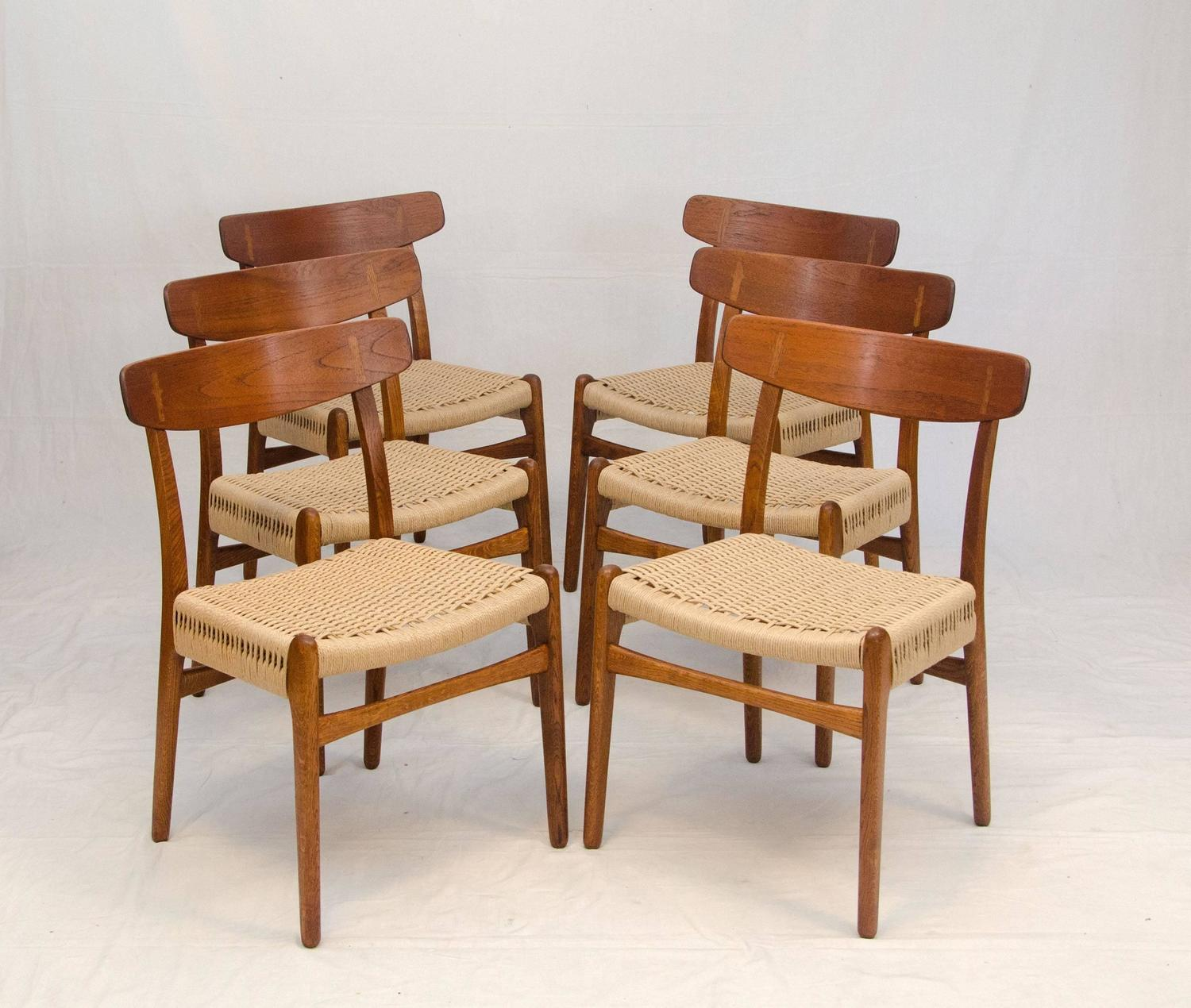 Set of six hans wegner dining chairs ch23 at 1stdibs for Wegner dining chair