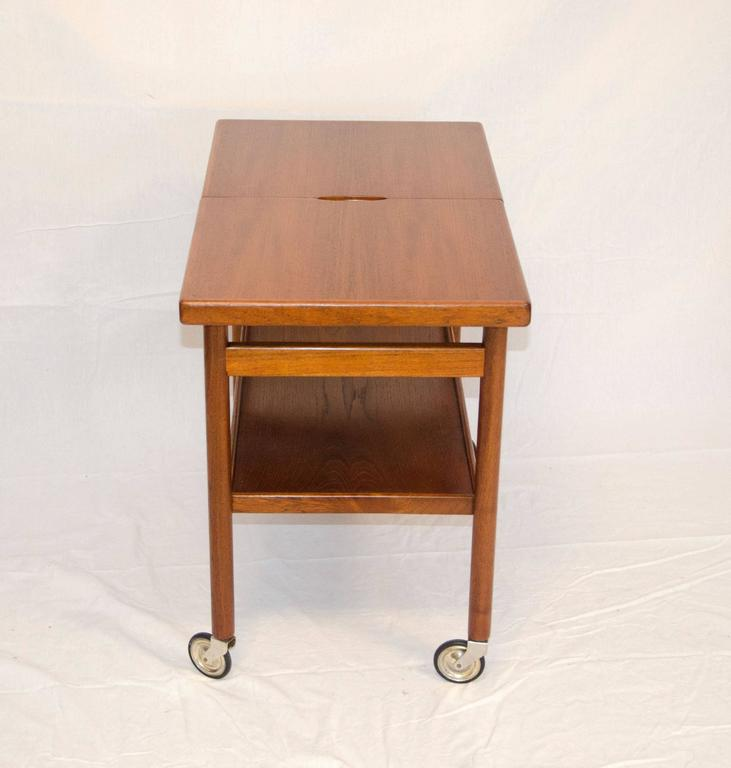 Mid-Century Danish Teak Rolling Bar or Serving Cart 5