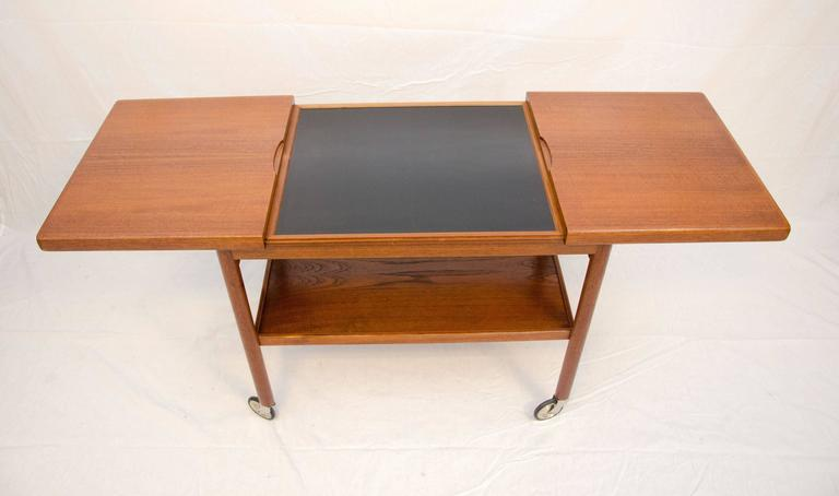 Mid-Century Danish Teak Rolling Bar or Serving Cart 2