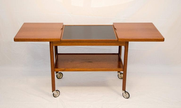 Mid-Century Danish Teak Rolling Bar or Serving Cart 3