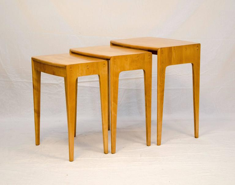 Very Functional Set Of Three Nesting Tables In Solid Birch. Perfect For  Sofa Ends Or