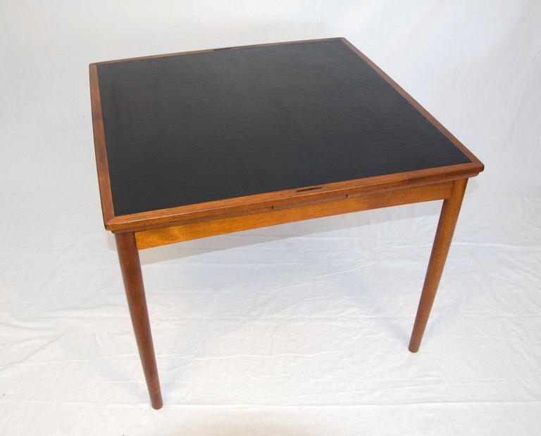 Scandinavian Modern Mid Century Teak Flip Top Dining Or Game Table, Poul  Hundevad