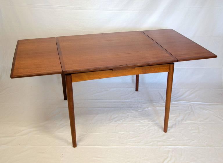 Mid Century Teak Flip Top Dining Or Game Table Poul