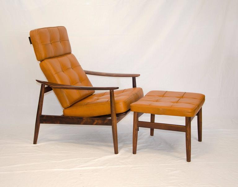 Scandinavian Modern Danish Rosewood Reclining Lounge Chair And Ottoman, Arne  Vodder Model FD 164