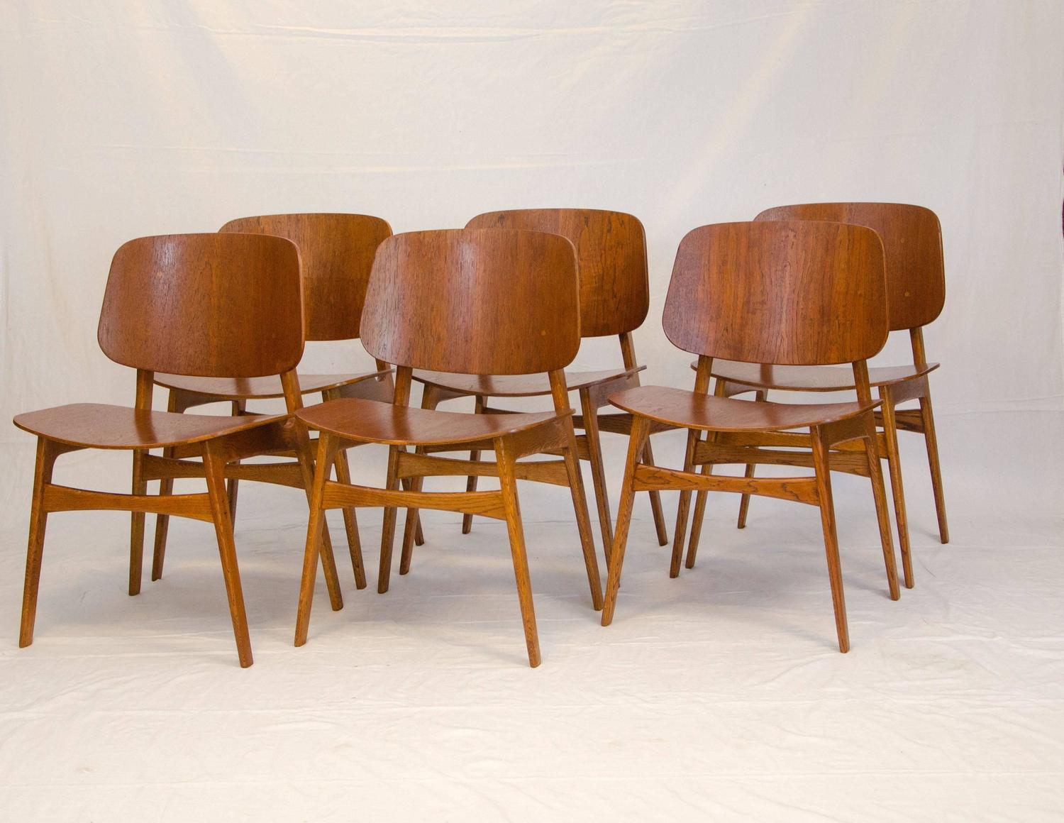 Set of six bent ply teak and oak chairs by b rge mogensen for S bent dining room furniture