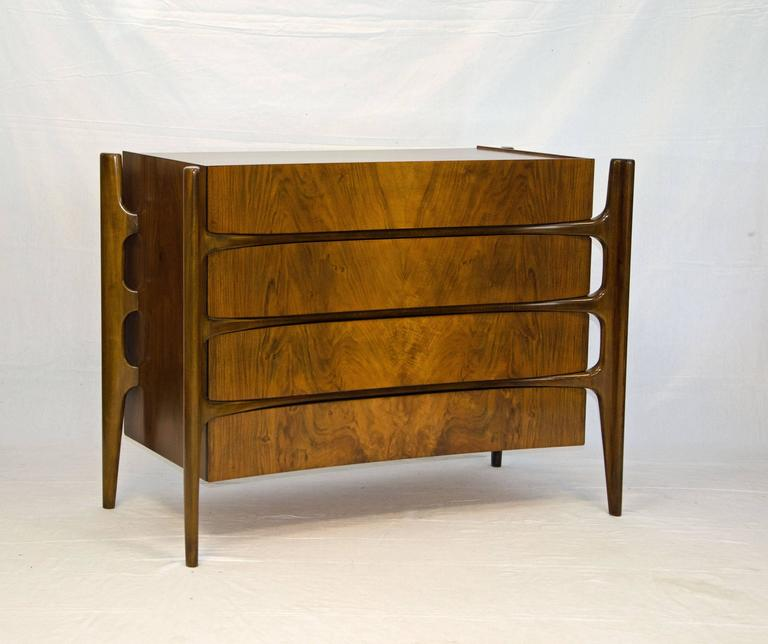 Swedish Sculptural Walnut Chest Dresser By William Hinn At 1stdibs