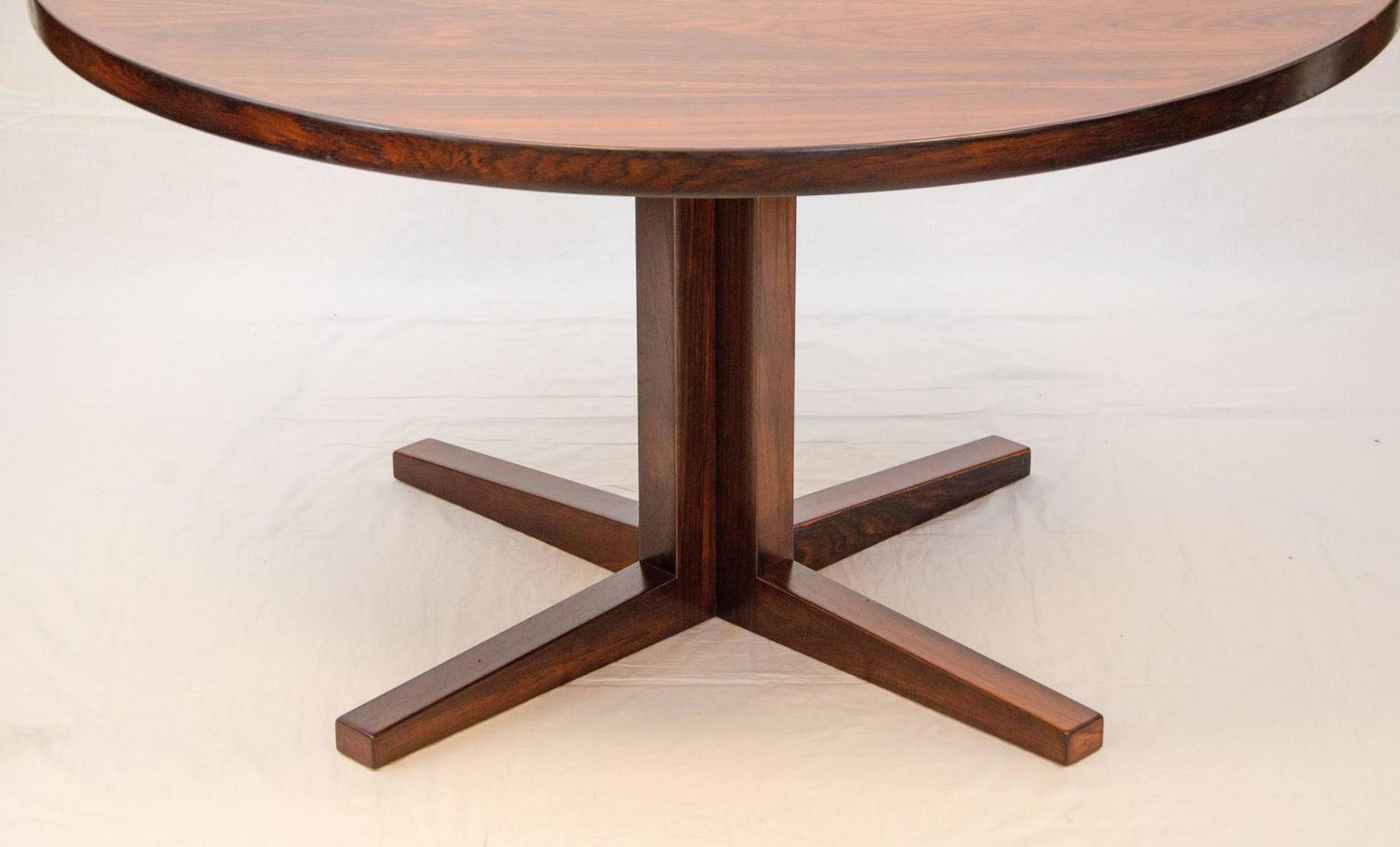 Danish Rosewood Round Pedestal Dining Table One Leaf At 1stdibs