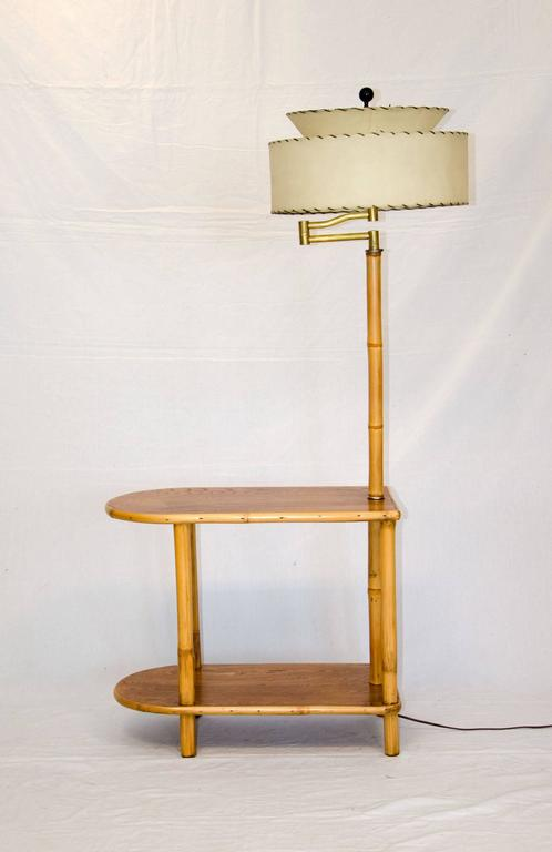 Rattan End Table With Attached Lamp At 1stdibs