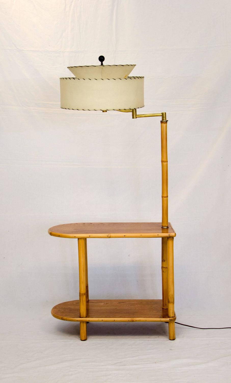 rattan end table with attached lamp for sale at 1stdibs. Black Bedroom Furniture Sets. Home Design Ideas