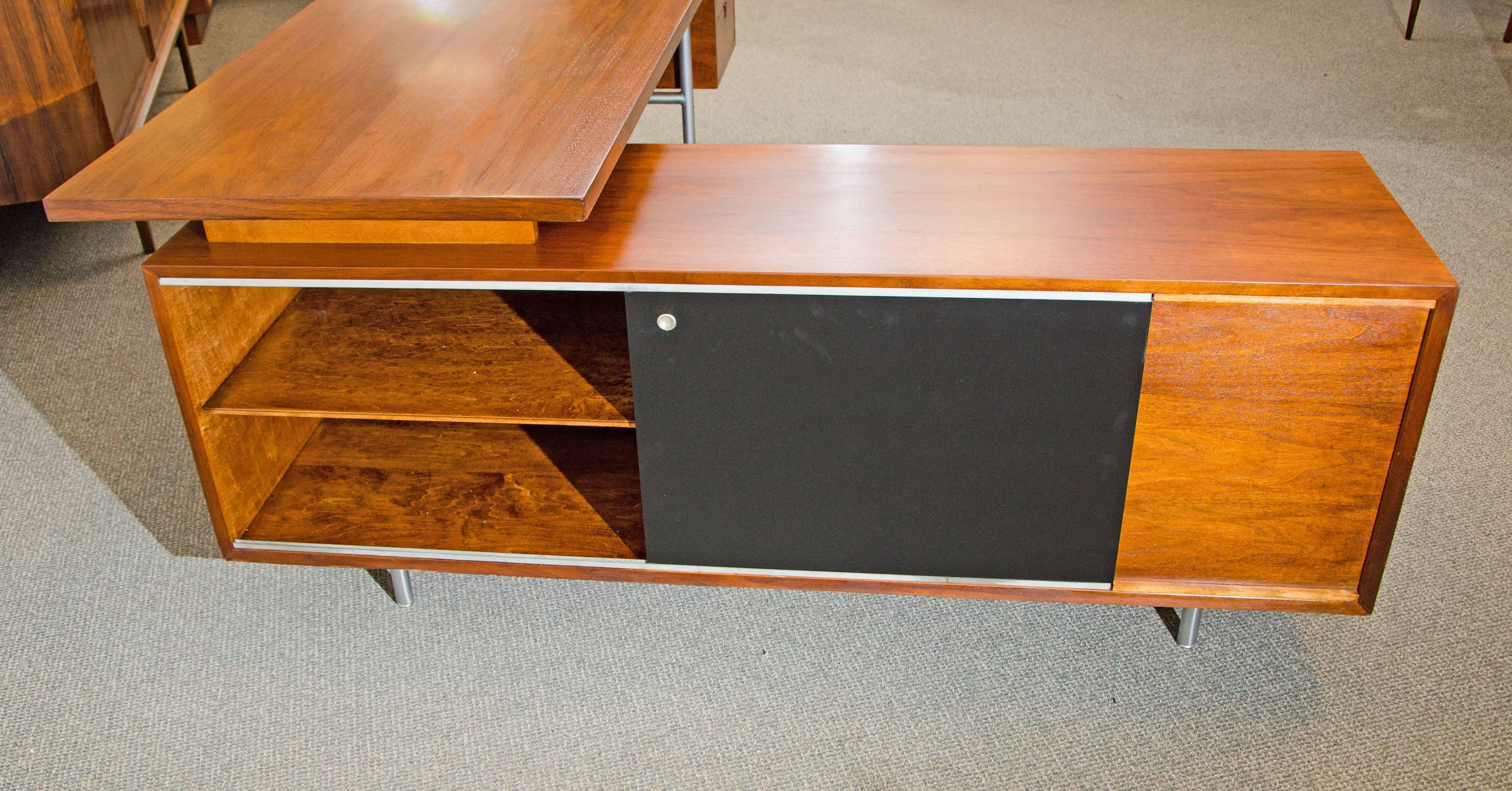 Walnut Excutive Desk With Credenza Return By George Nelson For Herman Miller At 1stdibs