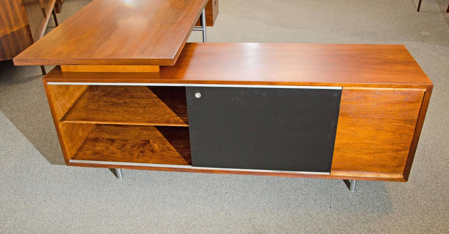 Walnut Excutive Desk With Credenza Return By George Nelson