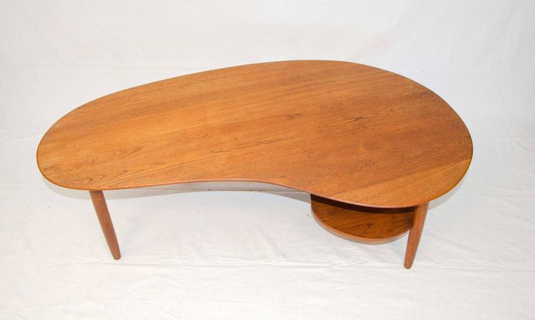 Danish Teak Kidney Shaped Coffee Or Cocktail Table 2