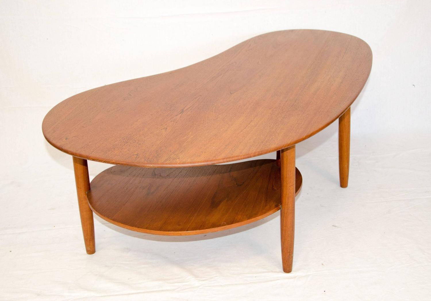 Danish Teak Kidney Shaped Coffee Or Cocktail Table At 1stdibs