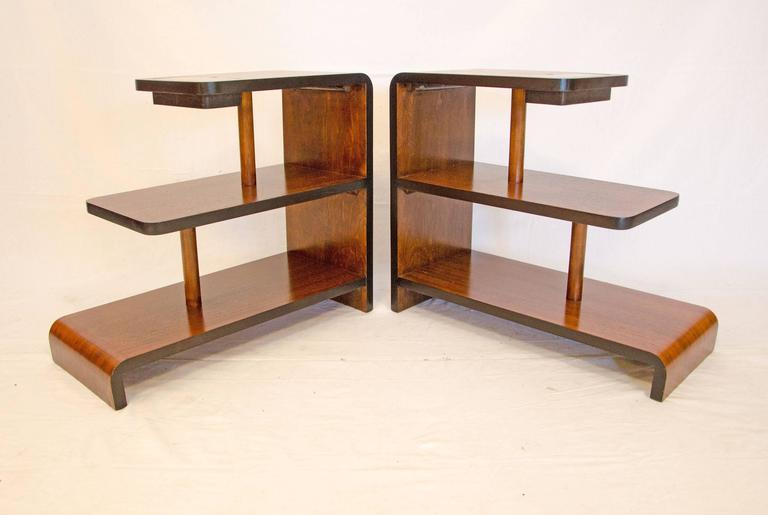 Pair Of Walnut Art Deco Three-Tier End Tables At 1stdibs
