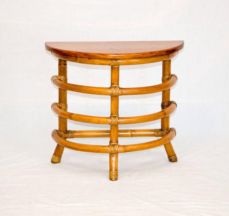 Pair Of Small Rattan Furniture Items To Accent Your Interior Half Round Side Or