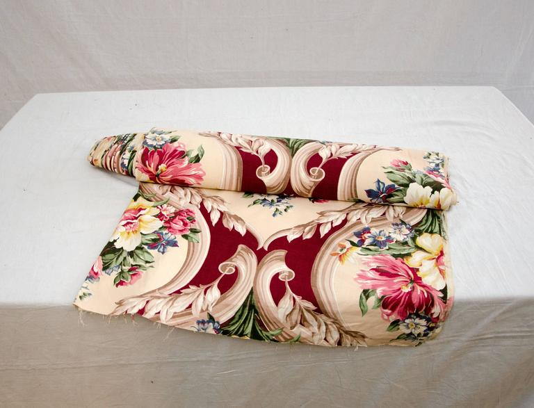 Victorian Vintage Upholstery or Drapery Fabric, Floral Pattern 10 Yards For Sale