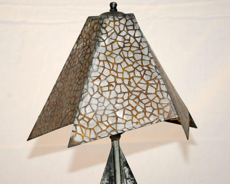 Metal Small Art Deco Accent Lamp, Mica Shade For Sale