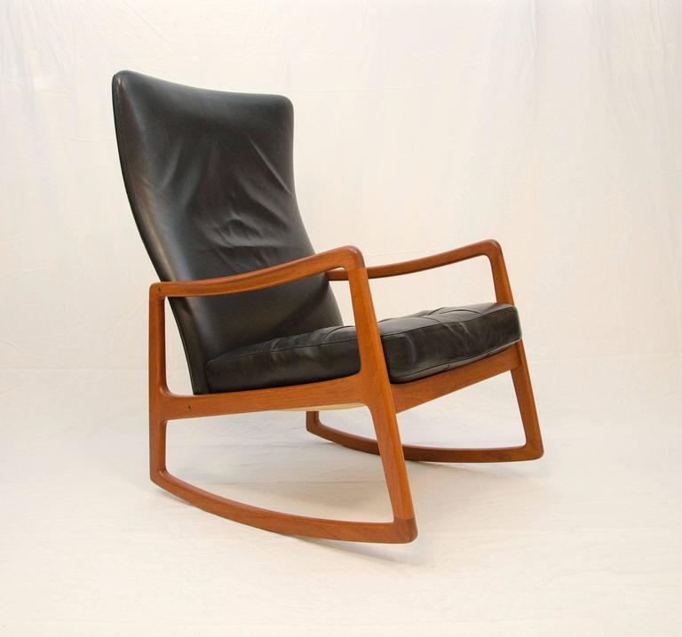 Superbe Comfortable And Stylish High Back Rocking Chair Designed By Ole Wanscher  And Manufactured By France And