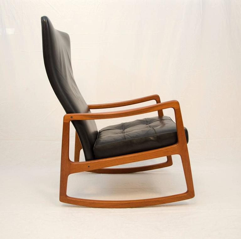 Danish Teak And Leather High Back Rocking Chair By Ole Wanscher For Sale At 1