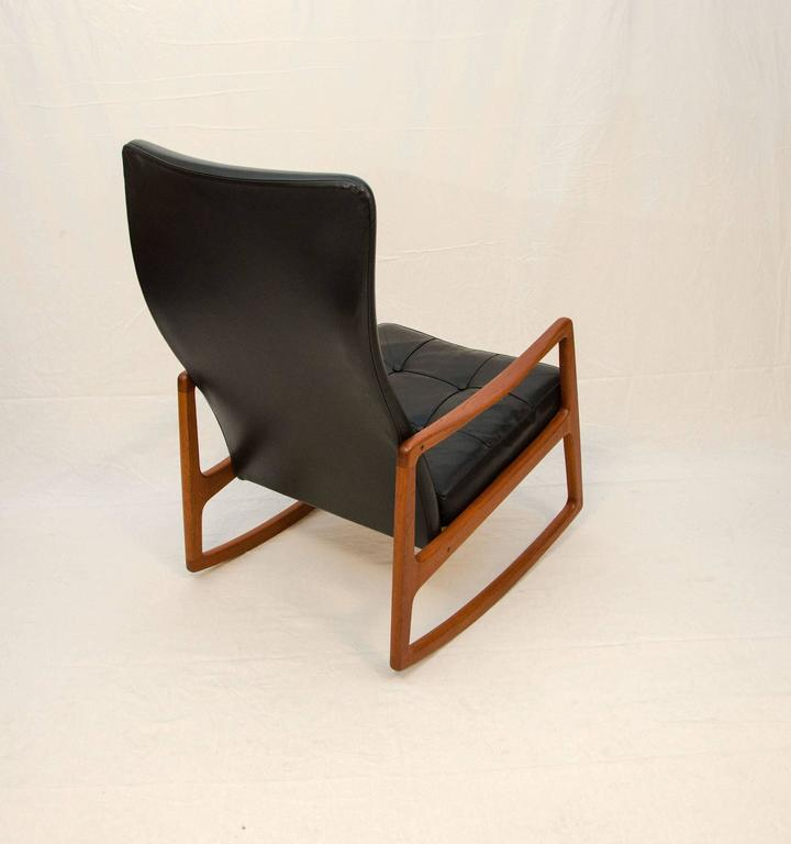 Danish Teak And Leather High Back Rocking Chair By Ole