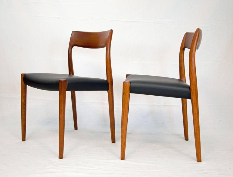 Scandinavian Modern Set Of Six Danish Teak Dining Chairs, Model #77, N Ø