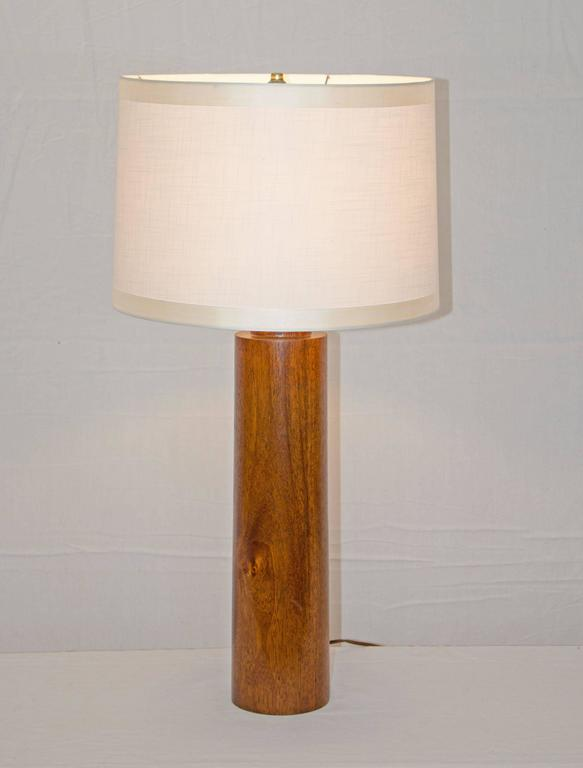 Impressive simple mahogany cylindrical base table lamp can be used as an accent light in many different places. Measures: The base is 20 1/4